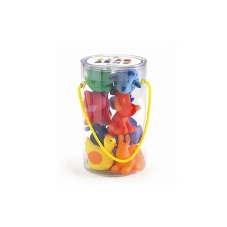 8 Regnbuefarvede plastikdyr