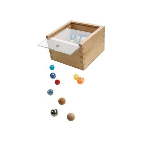 kasse med glaskugler