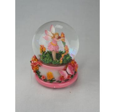 Glaskugle med Alf og blomster