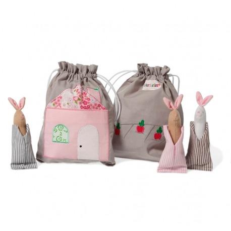 Fortællerpose med søde kaniner