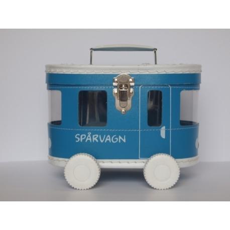 Kuffert bus på hjul blå