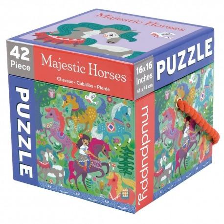 Puslespil med fine heste 42 brikker