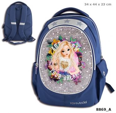 Topmodel skoletaske blå søde piger