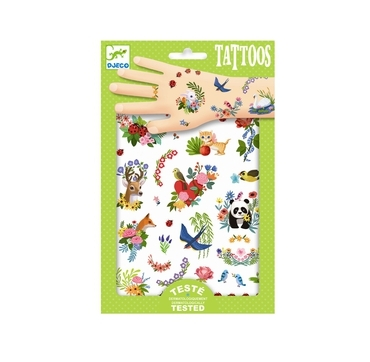 Djeco tattos med søde dyr og blomster