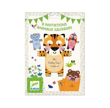Djeco invitations kort med vilde dyr