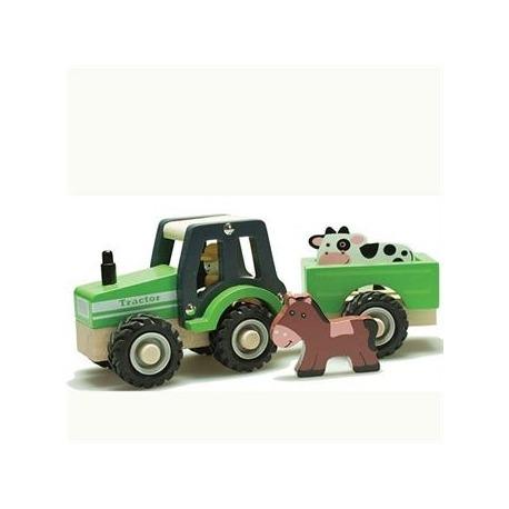 Traktor i træ med dyr