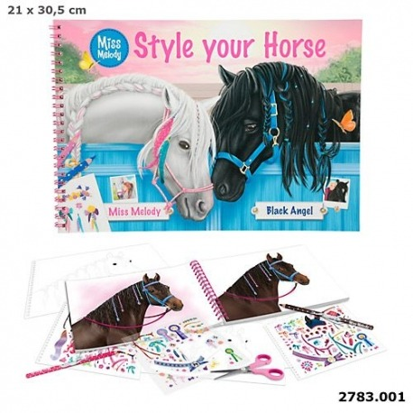 Topmodel malebog med fine heste