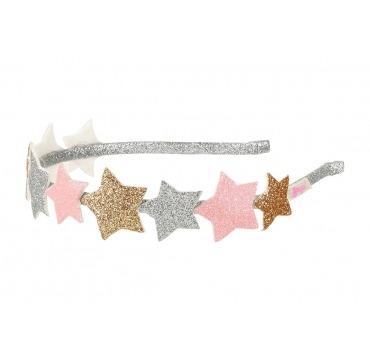 Hårbøjle sølv med stjerner