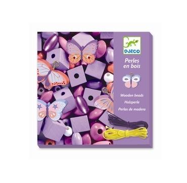 Flot lilla æske med perler i træ
