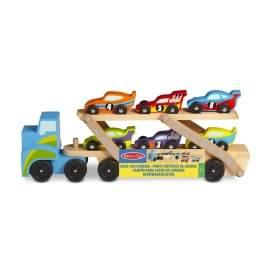 Lastbil med 6 racerbiler
