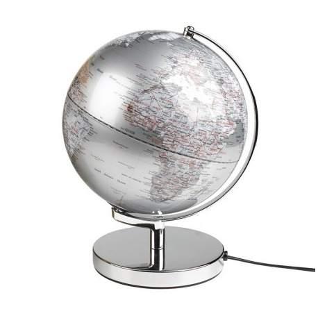 Globus sølv farvet med lys